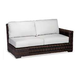 Thos. Baker - Outdoor Wicker Loveseat Right Sectional | Hampton Java Collection - Our most popular over-sized wicker collection is now available in a rich java color weave. Premium, dyed-through resin wicker with an extra large diameter profile and a rich variegated rustic finish. Powder-coated aluminum sub-frame and brushed aluminum feet.Plush Sunbrella cushion sets included where applicable. Choose quick ship in khaki with cocoa piping, stone green or choose from our made-to-order fabric options.Made-to-order cushion sales are final and ship in 2-3 weeks.