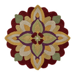 """Loloi Rugs - Loloi Rugs Azalea Collection, Red and Yellow, 3'-0""""x3'-0"""" Round - The Azalea Collection celebrates desirable round rugs in the most updated colors and patterns for today's fashionable interiors. Available in a broad range of styles, Azalea has a distinctive look that is achieved by its meticulously hand-tufted, wool construction. Made in India, the cut-and-loop textured rounds come in a varied palette that includes spring and fall hues, brights and everyday, familiar tones, too. These fresh rounds will add a dramatic wow-factor to any interior."""