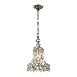 "Elk Lighting - ELK Lighting  Sasha 10"" Pendant - The Sasha pendant invokes the Victorian period with a scalloped fringe and an abundance of interlaced crystal. Choose between Aged Silver or Spanish Bronze."
