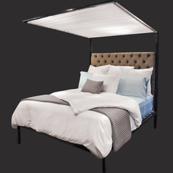 "ShinerInternational - Pith Canopy Bed - The Pith Canopy bed features a black metal frame, upholstered headboard, and white ruched canopy top. Features: -Material: Metal. -Black finish. -Upholstered headboard. -6 Months warranty. -Made in the USA. Dimensions: -Twin: 82"" H x 42.5"" W x 84"" D, 115 lbs. -Full: 82"" H x 59"" W x 84"" D, 200 lbs. -Queen: 82"" H x 66"" W x 84"" D, 225 lbs. -King: 82"" H x 82"" W x 84"" D, 260 lbs."