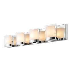 Golden Lighting - 4-Light Bath Vanity in Metallic Chrome Finish - Includes four 40W G9 halogen bulb. Traditional style. Oval and contemporary double-layer glass shade. Cased opal glass diffuser inside clear glass. Large rectangular back plate allows for easy remodeling installations. Provides a well diffused light over a vanity or mirror. Made from iron and glass. Fixture width: 32 in.. Fixture height: 4.75 in.. Fixture extension: 4.25 in.. Wire length: 8 in.. Shade: 5.75 in. Dia.. x 4.25 in. H. Back plate: 32 in. W x 0.75 in. D x 4.75 in. H