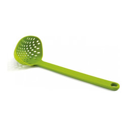 Joseph Joseph - Scoop Straining Ladle, Green - This is perfect for scooping, draining and serving cooked vegetables straight from a hot pan. It is heat-resistant up to 240C/480F and suitable for all types of cookware. Dishwasher Safe.