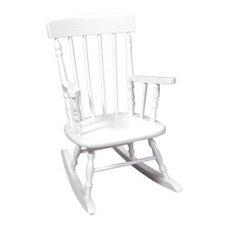 Gift Mark - Gift Mark Home Kids Deluxe Children Spindle Rocking Chair White - The Gift mark Hand Crafted Spindle Rocking Chair is Designed for Beauty and Durability. Each Spindle is Hand carved, with Great Detail. Each Spindle Rocking Chair is Crafted from Solid Wood. This Rocking Chair is built to Heirloom-Quality, and will be part of your Family for Generations. Extra Thick Seat. Easy to Assemble. Includes All Tools For Assembly.