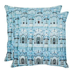 Safavieh - Safavieh Verona Pillow (2) X-2TES-0202-A954LIP - Fashion's newest hue updates ancient architecture for today's homes in this exquisitely detailed accent pillow.  The photo-realistic image is printed on pure organic cotton for comfort and elegance in any interior design setting.