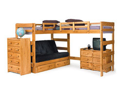 Solid Wood L-Shaped Futon Loft Bed LF-6200(WC) - Combining casual design with function, this loft bed will be perfect for a bedroom in your home. The bed features two lofted beds and a built-in futon for a stylish, functional design. An open area underneath one of the beds offers a place to store a bookcase, dresser or desk. This loft bed would be perfect for teens sharing a bedroom, or for a bunk bed that will grow with your children!