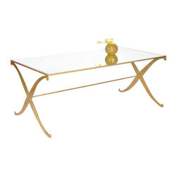 Worlds Away - Worlds Away Coffee Table w/ Plain Mirror Top, Gold Leaf - Worlds Away Coffee Table W/ Plain Mirror Top - Gold Leaf