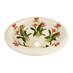 Decorated Porcelain Company - Bird of Paradise Hand Painted Sink, Biscuit - Brighten up your bathroom with these tropical Bird of Paradise flowers in shades of red and tangerine orange with vivid green leaves on a white rolled edge drop-in sink. All of our fixtures are hand-made to order in the USA and kiln-fired for long-lasting durability.