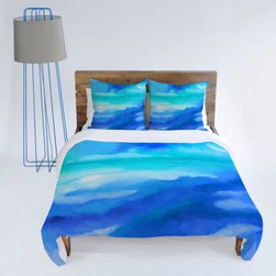 DENY Designs Jacqueline Maldonado Water Color Duvet Cover - Decorate your bed with the colors of the night sky with the DENY Designs Jacqueline Maldonado Arpeggi Duvet Cover. A beautiful blend of layered red, blue, and purple colors create this stunning custom printed design. Machine washable, this ultra-soft duvet cover is made of 100 percent polyester microfiber material. Small metal snaps are placed along the bottom of this duvet cover to ensure secure and snug closure around your bed. Three size options available.About DENY DesignsDenver, Colorado based DENY Designs is a modern home furnishings company that believes in doing things differently. DENY encourages customers to make a personal statement with personal images or by selecting from the extensive gallery. The coolest part is that each purchase gives the super talented artists part of the proceeds. That allows DENY to support art communities all over the world while also spreading the creative love! Each DENY piece is custom created as it's ordered, instead of being held in a warehouse. A dye printing process is used to ensure colorfastness and durability that make these true heirloom pieces. From custom furniture pieces to textiles, everything they make is unique and distinctively DENY.