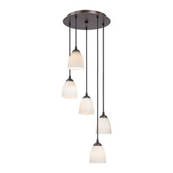 Design Classics Lighting - Modern Bronze Multi-Light Pendant Light with White Bell Glass - 580-220 GL1028MB - Neuvelle bronze multi-light mini-pendant with modern bell satin white glass shades and five lights. Includes one bronze five-port ceiling canopy. Each mini-pendant comes with 7-feet of black cuttable cord that allows for custom height adjustability for each pendant. Takes (5) 100-watt incandescent A19 bulb(s). Bulb(s) sold separately. UL listed. Dry location rated.