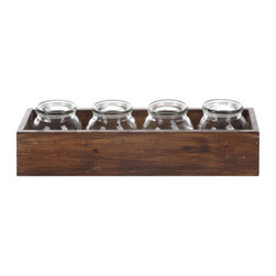 Wooden Box with Jars - We've made it easy to get that farmhouse feel—this simple wooden box with four glass jars gives you smart organization, as well as country-chic cred.