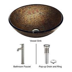 Vigo - Vigo Textured Copper Vessel Sink and Faucet Set, Brushed Nickel (VGT154) - Vigo VGT154 Textured Copper Vessel Sink and Faucet Set, Brushed Nickel
