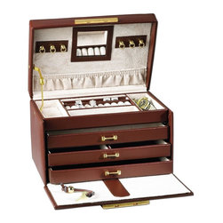 RaGar - Paris Weave 6 in. Jewelry Box - Three drawers and travel case. Accented with smooth leather trim. Made from genuine leather. Brown color. 9.75 in. W x 6 in. D x 6 in. HThis lavish, Parisian beauty is a jewelry collector's dream. Versatile styling makes it a great choice for the jewelry collector in you.