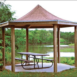 Fifthroom - 16' x 16' Laminated Wood Curved Roof Hexagon Victory Pavilion -