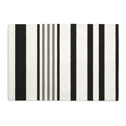 Black, Gray & White Stripe Custom Placemat Set - Is your table looking sad and lonely? Give it a boost with at set of Simple Placemats. Customizable in hundreds of fabrics, you're sure to find the perfect set for daily dining or that fancy shindig. We love it in this white, black & gray outdoor stripe that's just hankering for those wide open spaces.