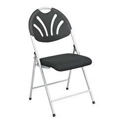 Office Star - Office Star FC Series Set of 4 Plastic Folding Chair in Black and Silver - Office Star - Folding Chairs - FC8100NS3 - Folding Chair with Black Plastic Fan Back and Fabric Seat with Silver Frame (4-Pack). Convenient for outdoors or an extra seat for a guest, this folding chair comes in a multiple color selection of your choice. Also, the office star is easy to store away until the next time you need it.