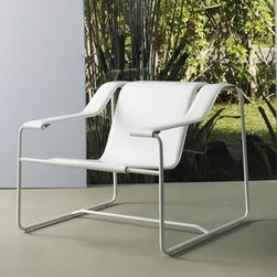 Modloft - Modloft   Frederick Lounge Chair - Made in Brazil by Modloft.Shaped leather lounge seating upon a modern steel frame. The Frederick Lounge Chair features a stainless steel frame with leather seat and arms. Available in a variety of leather and frame finish options.