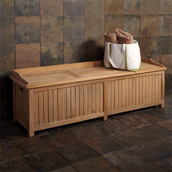 Jakie 6 ft Teak Storage Bench - At 6' long, this Teak Storage Bench provides functional seating and easily hides outdoor accessories. Spaced slats allow for air flow and water drainage.