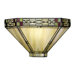 Dale Tiffany - Dale Tiffany 8676/1LTW Dana Mission Wall Sconce - Shade: Hand Rolled Art Glass