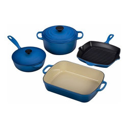"Le Creuset - Le Creuset 6 Piece Signature Set - Marseille - The new 6 Piece Signature Set makes a perfect gift to outfit a new kitchen, and includes the 4_ qt. Signature Round French Oven with Lid, 2_ qt. Saucier Pan with Lid, 10_"" Square Skillet Grill and 5_ qt. Signature Rectangular Roaster."