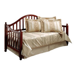 Hillsdale - Hillsdale Allendale Wood Daybed in Cherry Finish with Suspension Deck - Hillsdale - Daybeds - 1398DBLH -The Hillsdale Allendale Daybed is constructed from Asian hardwood in a warm, friendly cherry finish. It features a camelback styled backrest and sloped arms with vertical slats. The four corner tops are decorated with a simple round finial. This twin size daybed includes a mattress supporting suspension deck for your convenience. Extend its versatility by using it as a sofa in the home office or combining it with the optional roll-out trundle in the guest room for even more sleeping space. The concealed, space saving optional roll-out trundle includes six casters for easy setup and supports a standard twin size mattress. Distinctly mission in style, the Allendale Daybed is sure to make any room in your home inviting and comfortable.