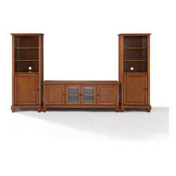 """Crosley - Cambridge 60"""" Low Profile TV Stand and Two 60"""" Audio Piers - Dimensions:  Audio Tower: 57"""" H x 18"""" W x 24"""" D"""
