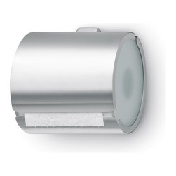 Blomus - Tarro Wrap-Around Toilet Roll Holder - Wall-mounting kit included. Made of stainless steel and sanitized glass. Designed by Floz Design. 1-Year manufacturer's defect warranty. 5.93 in. L x 5.53 in. W x 5.33 in. HThe bathroom as a space to enjoy and which aims to provide atmosphere and style takes second place to no other furnishings or fittings in your living space. If the harmonious interplay of form and function works as well as it does in the TARRO bathroom line from blooms, then the feeling of relaxed well-being just happens of its own accord. Satin glass completes the timeless beauty of the design of the bathroom line in matt finish stainless steel. This mix of materials in the TARRO line expresses the clear language of form in a softer voice and brings an aesthetically light touch to the bathroom.