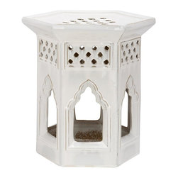 Safavieh - Bibao Garden Stool - Lend an exotic accent to your backyard, living room, bedroom or hall with our Bibao Garden Stool. Cut-outs of classic Moorish arches and tile-inspired grid work are iconic architectural elements crafted of cream glazed ceramic for a piece so versatile it can be used as side table, extra seating, plant stand or even a footrest.