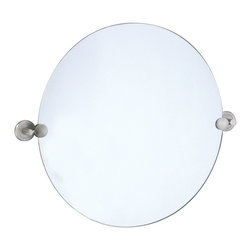 "Lamps Plus - Contemporary Gatco Latitude 2 Satin Nickel Finish Round Wall Mirror - From Gatco the Latitude 2 minimalist wall mirror is a wonderful decorating look for bathrooms vanity areas dressing tables and more. The frameless design offers a clean contemporary appearance. Satin nickel finish brackets. Frameless. 23 1/2"" wide and 19 1/2 high. Mirror glass only is 19 1/2"" wide.  Satin nickel finish brackets.   Frameless.   Can be tilted.  23 1/2"" wide and 19 1/2 high.   Mirror glass only is 19 1/2"" wide."
