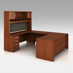 Bush Furniture - Bush Series C U-Shaped Computer Desk and Hutch - BHI725 - Shop for Desks from Hayneedle.com! Create a real home office with everything you need to work efficiently with the Bush Series C U-Shaped Computer Desk and Hutch. With a large desk a credenza with hutch and a bridge to connect the two and give you more work space this desk really has it all. There's also a 3-drawer file cabinet with room for legal documents and more that slips right under the desk. You can configure the desk two different ways depending on whether you're left or right handed. This unit is commercial-quality and ready for heavy frequent use. Sturdy 1-inch thick PVC surfaces ensure it will stand up to all the work you'll be doing from it. Choose from several finishes to find the one that will best complement your office space. Grommets in the desk will keep all your wires from getting tangled up.About the finishesThe Natural Cherry Hansen Cherry and Auburn Maple finish options come with modern graphite gray vertical supports. The Mocha Cherry and Mahogany finish options feature the same finish on all surfaces.Additional Features:Meets ANSI/BIFMA standards for safety and stabilityContoured desktop for comfortable work spaceHutch features two cabinets and a large open storage space6 open slots in hutch for handy filingIncludes a 3-door filing cabinet1 letter/legal size drawer2 box drawers for bulkier storageWire management grommets keep cords in orderDimensionsOverall: 71W x 101D x 73H inchesDesk: 71W x 29 3/8D x 30H inchesBridge: 47.75W x 23 3/8D x 30H inchesCredenza: 71W x 23 3/8D x 30H inchesHutch: 71W x 15 3/8D x 43H inches3-drawer file: 15.75W x 20 3/8D x 28.5H inchesAbout Bush FurnitureBush Furniture is the eighth largest furniture company in the United States. Bush manufactures high-quality products which are designed to be easily assembled and provide great value for the price. Bush furniture is made from a combination of particleboard fiberboard and solid wood components