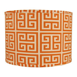 Doodlefish - Large Orange Maze Shade - Orange and White graphical zigs and zags cover this Doodlefish Lamp Shade. This shade is available in 12x12x10 and 14x14x11. All shades are made to order in the USA and have harp and finial style fittings