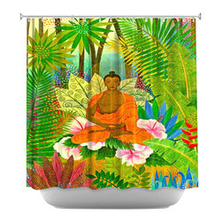 DiaNoche Designs - Shower Curtain Artistic - Buddha In the Jungle - DiaNoche Designs works with artists from around the world to bring unique, artistic products to decorate all aspects of your home.  Our designer Shower Curtains will be the talk of every guest to visit your bathroom!  Our Shower Curtains have Sewn reinforced holes for curtain rings, Shower Curtain Rings Not Included.  Dye Sublimation printing adheres the ink to the material for long life and durability. Machine Wash upon arrival for maximum softness. Made in USA.  Shower Curtain Rings Not Included.