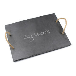 None - Say Cheese Slate Serving Board - An ideal blend of traditional functionality and universal style,the Say Cheese Slate Serving Board makes for a beautiful display,especially after labeling gourmet foods with soapstone chalk (included). Finished with hemp handles.