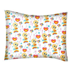 SheetWorld - SheetWorld Twin Pillow Case - Percale Pillow Case - Tweety Love - Made in USA - Twin pillow case. Made of an all cotton woven fabric. Side Opening. Features the one and only Tweety Bird!