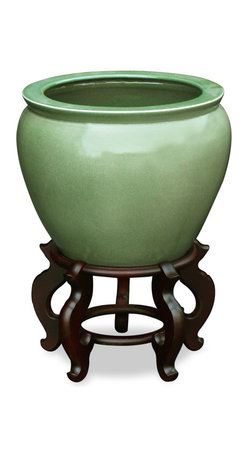 "China Furniture and Arts - 12in Crackle Glazed Celadon Fishbowl, 15""dia - Today's celadon ware is a descendant of the time-honored since the 10th century art form developed in China. Used today as a cachepot, this hand crafted porcelain bowl gives a large plant a decorative place to call home. Stand sold separately."