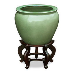 """China Furniture and Arts - 12in Crackle Glazed Celadon Fishbowl, 15""""dia - Today's celadon ware is a descendant of the time-honored since the 10th century art form developed in China. Used today as a cachepot, this hand crafted porcelain bowl gives a large plant a decorative place to call home. Stand sold separately."""
