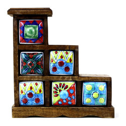 "Ceramic Drawer Chest (6 Drawers), Design 3 - Rustic hand painted ceramic drawers ideal for storing small jewelry or other trinkets. The drawers are hand painted in different designs and the wooden chest has a rustic distressed finish. Approximate dimensions: L 9.5"" x H 10.25"" x W 4"""