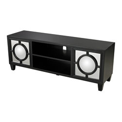 Sterling - Sterling 136-004 Mirage Black Media Console With Convex Mirror By Sterling - Sterling 136-004 Mirage Black Media Console With Convex Mirror By Sterling