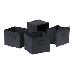 Winsome - Capri Set of 4 Foldable Black Fabric Baskets - Set of 4 Foldable black fabric containers. Use the large size as a magazine holder, file holder, art project holder. The next 3 sizes are great for decorative storage and organization: washcloths in the bathroom, note pads at work, personal items in chest of drawers. When not in use, they fold for easy storage. Easy to assemble