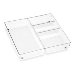 Interdesign - Acrylic 12-Inch x 12-Inch Junk Drawer Organizer - Acrylic drawer organizers provide a versatile modular system so you can create customize storage in any drawer. Sturdy clean plastic organizers have non-skid feet with chrome accents for a clean, stylish look.