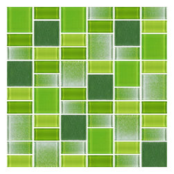"""Rocky Point Tile - Fusion Green Glass Mosaic Tiles, 10 Square Feet - These tiles are a blend of 1 7/8"""" x 1 7/8"""" squares and 7/8"""" x 1 7/8"""" rectangles. The mix includes various shades of green in a smooth high gloss finish as well a textured finish. A nice choice for anyone looking for a pop of color in their backsplash or bathroom."""