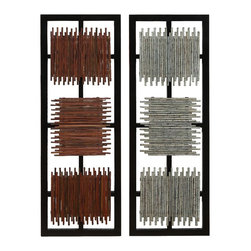 None - Multicolored Wall Decorations (Set of 2) - This decorative set features two pieces with one piece exhibiting a silver-grey color and the other in lovely goldtone. The two abstract items with square designs are composed of seasoned varnished quality wood.