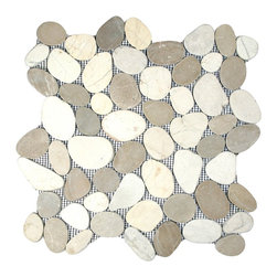 "CNK Tile - Sliced Java Tan and White Pebble Tile - Each pebble is carefully selected and hand-sorted according to color, size and shape in order to ensure the highest quality pebble tile available.  The stones are attached to a sturdy mesh backing using non-toxic, environmentally safe glue.  Because of the unique pattern in which our tile is created they fit together seamlessly when installed so you can't tell where one tile ends and the next begins!     Usage:    Shower floor, bathroom floor, general flooring, backsplashes, swimming pools, patios, fireplaces and more.  Interior & exterior. Commercial & residential.     Details:    Sheet Backing: Mesh   Sheet Dimensions: 12"" x 12""   Pebble size: Approx 3/4"" to 2 1/2""   Thickness: Approx 3/8""   Finish: Natural Sliced Tan and White"