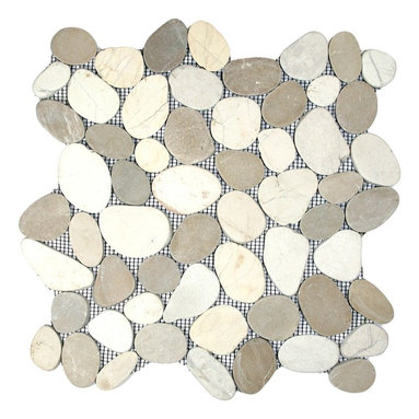 """CNK Tile - Sliced Java Tan and White Pebble Tile - Each pebble is carefully selected and hand-sorted according to color, size and shape in order to ensure the highest quality pebble tile available.  The stones are attached to a sturdy mesh backing using non-toxic, environmentally safe glue.  Because of the unique pattern in which our tile is created they fit together seamlessly when installed so you can't tell where one tile ends and the next begins!     Usage:    Shower floor, bathroom floor, general flooring, backsplashes, swimming pools, patios, fireplaces and more.  Interior & exterior. Commercial & residential.     Details:    Sheet Backing: Mesh   Sheet Dimensions: 12"""" x 12""""   Pebble size: Approx 3/4"""" to 2 1/2""""   Thickness: Approx 3/8""""   Finish: Natural Sliced Tan and White"""