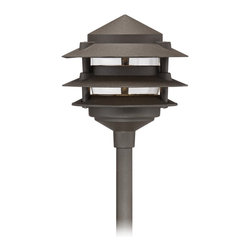 Lamps Plus - Three-Tier Pagoda Low Volt Bronze LED Landscape Path Light - Handsome sophistication makes this bronze LED landscape path light a great accent for lawns and walkways. Durable bronze finish over die-cast aluminum base, this handsome three-tier landscape light is used to illuminate darkened or uneven walkways, or to add light to gardens or other landscaped areas. Includes stake for ground placement and an energy efficient LED for convenience and savings. Works with existing low voltage landscape lighting systems.