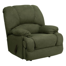 """Flash Furniture - Contemporary Glacier Olive Microfiber Chaise Rocker Recliner - Contemporary Glacier Olive Microfiber Chaise Rocker Recliner. Stylish and Comfortable Chaise Rocker Recliner; Olive Green colored Microfiber upholstery; High Quality Leggett and Platt mechanisms; Dacron wrapped 1.8 resiliency foam; CA117 Fire Retardant Foam; Minimal assembly required; Back comes detached for easier handling; Ships in two individual boxes; Overall dimensions: 41""""W x 47"""" - 71""""D x 41""""H"""