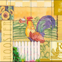 The Tile Mural Store (USA) - Tile Mural - Rooster Collage - Kitchen Backsplash Ideas - This beautiful artwork by Paul Brent has been digitally reproduced for tiles and depicts a nice rooster collage.  Rooster tile murals and decorative tiles with roosters are the perfect addition to your kitchen backsplash tile project. You can't go wrong with any of our decorative rooster tiles - each one is beautiful and will certainly add interest to your kitchen wall tile. Tile murals of roosters are timeless and will never go out of style. Add something unique to your kitchen backsplash behind your stove or sink.
