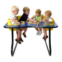 4 Seat Space Saver Toddler Activity Table - Playing games drawing or just having lunch the 4 Seat Space Saver Toddler Activity Table will help you maximize your floor space and keep track of your children at the same time. Each removable seat is made from easy-to-clean molded polyethylene and features a safety belt for added security. The tabletops are laminated over wood making them a snap to clean. Heavy-duty tubular steel legs can be fixed at either 14 or 27 inches high. Both seats and tabletops are available in an array of colors so take the time to pick the color that's right for your institution. These seats are recommended for children ages 5 to 24 months.About Toddler TablesAlmost 30 years ago Toddler Tables founder and church minister Glenn Holland got to work in his garage to fix a problem that he saw every Sunday. He noticed that parents with young children spent more time holding their children than they did being involved in the congregation. With an idea in mind he set out using the best materials and production methods available to help care for the children and assist the parents in his congregation. Holland's hard work paid off when he developed the first Toddler Table. With the seat mounted into the top of the table he was able to provide caregivers with more flexibility in their jobs and gave the children a safe and comfortable way to interact with other children. Before long Holland's new product began making waves in the child care industry and what was once being built in a garage is now produced in the Toddler Tables manufacturing facility in Raleigh North Carolina. Toddler Tables has become a symbol of commitment to the child care industry and even though they've grown beyond Holland's garage their attention to safety and quality are still available to every preschool Sunday school and daycare that cares just as much about the needs of the children they serve.