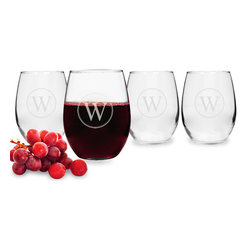 None - Personalized Circle Initial Stemless Wine Glasses (Set of 4) - An engraved initial adds customized style to your table with these stemless wine glass. Constructed with solid hand-blown glass,these 21-ounce drinking glasses are dishwasher safe for convenient and easy clean-up.