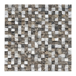 Somertile - SomerTile 12x12-inch Griselda Chiseled 0.5-inch Sand Charcoal Natural Stone Mosa - Natural stone mosaic tile Unglazed textured finish with a low sheen and a slight variation in tone Easy to install 12 x 12 x .25 mesh mounted tiles