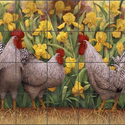"""Artwork On Tile - Matcham Rooster Country Life Ceramic Tile Mural 21.25"""" x 17"""" - RW-MM005 - * 21.25"""" w x 17"""" h x .25"""" Ceramic Tile Mural on Architectural Grade, 4.25"""" Tile w/Satin Finish"""